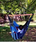 Chaise à pendre KONFORT XXL hamac naturel heol Jobek bleu caraïbes