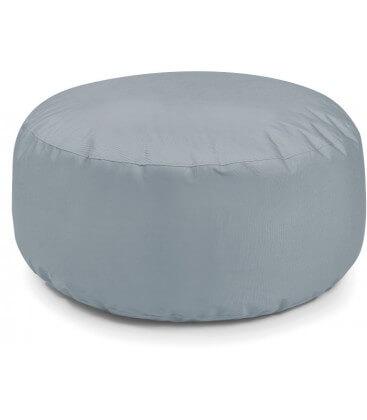 Pouf cake tissu d'extérieur gris pierre