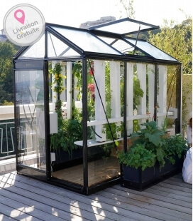 Garden greenhouse Picollo ACD 3.56m² - 160 x 225 CM in natural Aluminum, glass glazing