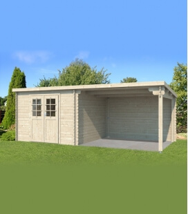 Garden shed + awning 3 m by Eden 28mm plank