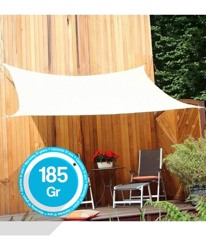 voile d 39 ombrage rectangle 5x4 metres ajour e. Black Bedroom Furniture Sets. Home Design Ideas