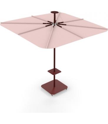 Parasol Infina UX Culture coloris sunbrella Blush et poteaux Bordeaux par Umbrosa nouveauté 2021
