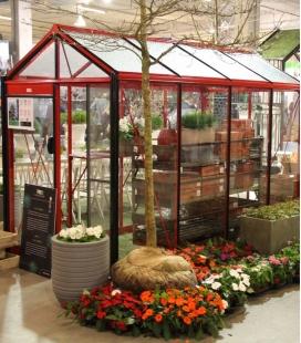 Serre de jardin en verre Piccolo P04 ACD 4,74m² coloris rouge carmin