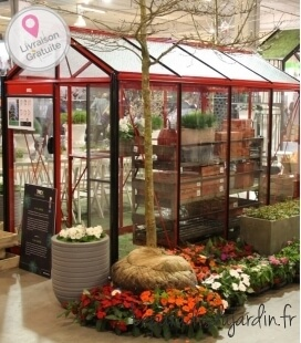 Greenhouse in glass Piccolo P04 ACD 4.74m² carmine red color