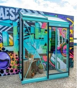 Serre de jardin en verre Miccolo M02 ACD 1,22m² murale bleu