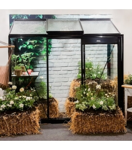 Urban glass wall greenhouse Miccolo M03 ACD 1.85m² black color