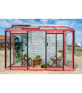 Glass garden greenhouse Miccolo M04 ACD 2.46m² pink
