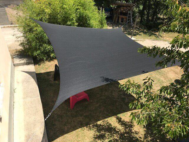 Voile d'ombrage Nesling carré 5 mètres coloris Noir 285gr