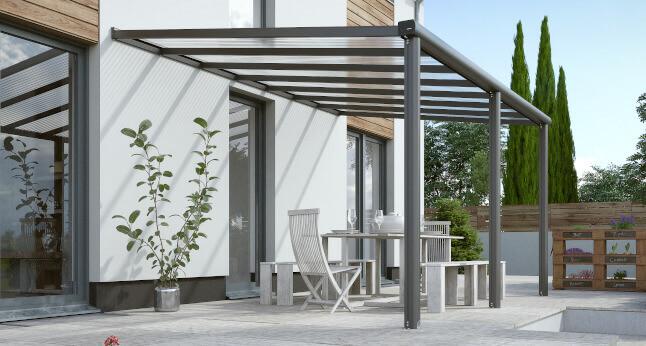 pergola compact edition en aluminium et polycarbonate coloris gris ral 7016 dimension 424x300
