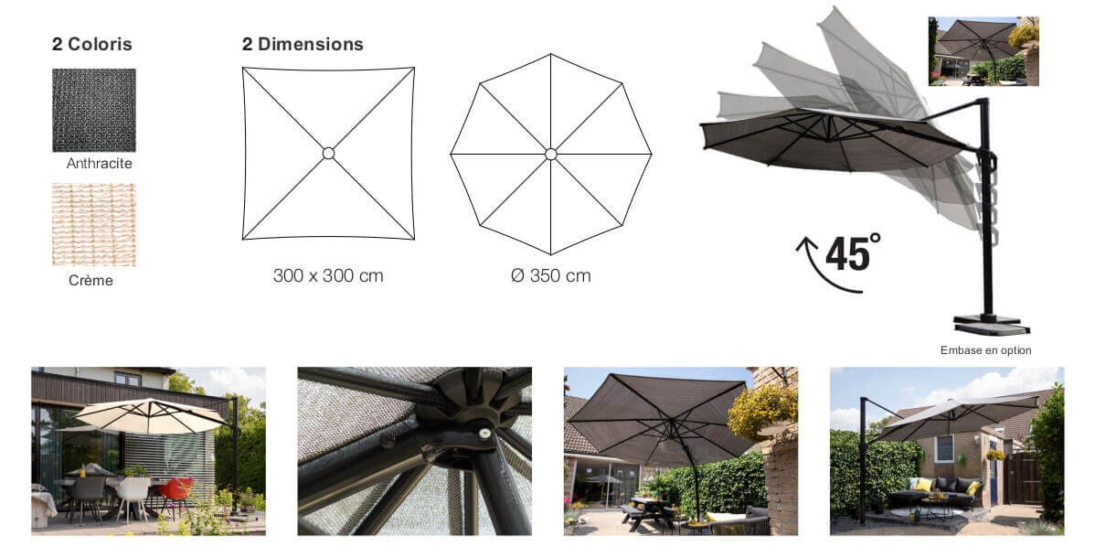 detail of the parasol hdpe standard Nesling céation 2020