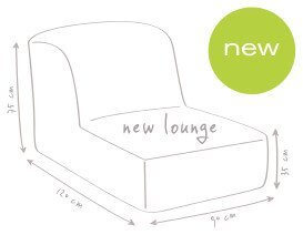 croquis dimension fauteuil Newlounge Marque Outbag en tissus
