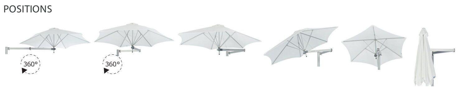 different position of the parasol paraflex umbrosa