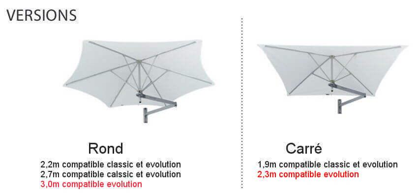 version et taille des parasols compatible bras classic et evolution.